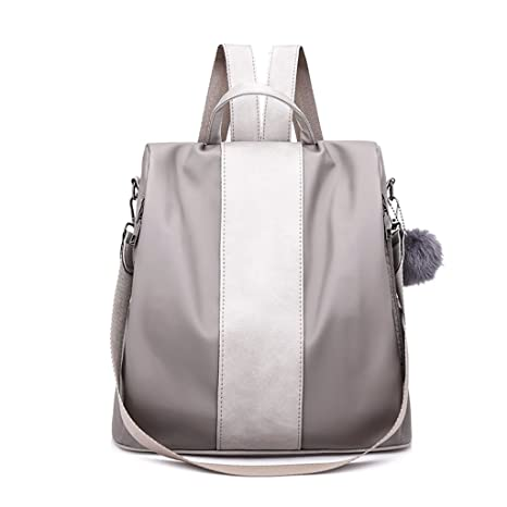 3f0c2e63573 Kingrock Pompom Women Backpack Purse Waterproof Nylon Anti-Theft Rucksack  Lightweight Shoulder Bag (Gray)