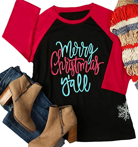 27af2c70e6b Amazon.com  Plus Size Merry Christmas Y all Baseball T-Shirt Womens 3 4  Sleeve O-Neck Splicing Holiday Tees Tops  Clothing
