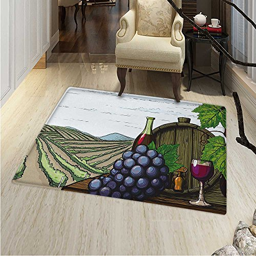 Wine Customize Floor mats Home Mat Landscape Views Vineyards Grapes Leaves Drink Barrel Agriculture Field Farm Oriental Floor Carpets 3'x5' ()