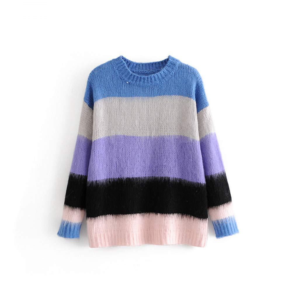 FUHENGMY Pullover Casual O Neck Pullover Mit Gestreiften Frauen Herbst Langarm Strickwaren Weibliche Blaue Kaffee Mohair Pullover