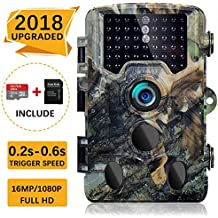"SOVACAM 【2018 Upgraded】 Trail Camera, 16MP 1080P 2.4"" LCD HD Deer Hunting Camera with 46pcs 850nm Low-Glow IR LEDs and 120° PIR Sensors,Up to 0.2s Trigger time,IP 56 Waterproof"