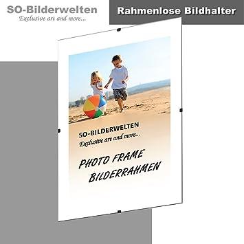 S1 - Portarretratos sin marco (sujeción con clip, 70 x 100 cm, cristal acrílico): Amazon.es: Hogar