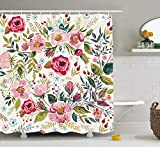 Floral Shower Curtain by Ambesonne, Shabby Chic Flowers Roses Pedals Dots Leaves Buds
