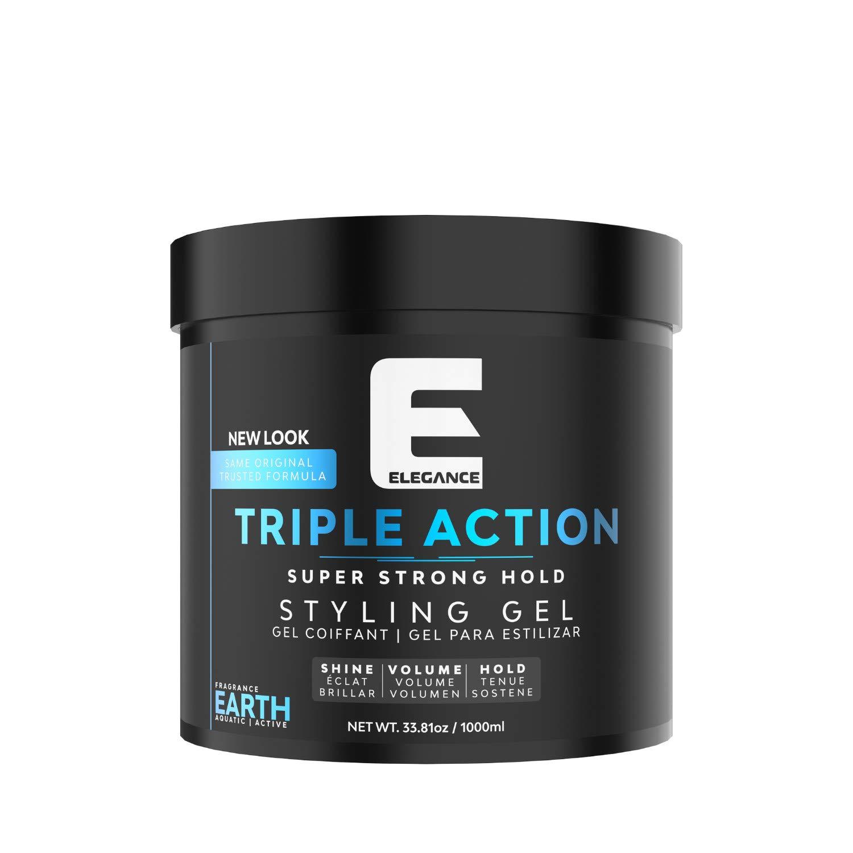 ELEGANCE GEL Triple Action Hair Gel, Blue, 33.8 Oz