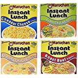 Maruchan Instant Lunch Sampler Variety Pack; 2.25oz Roast Beef, Creamy Chicken, Lime Chicken, and Cheddar Cheese Cups (Pack of 12)