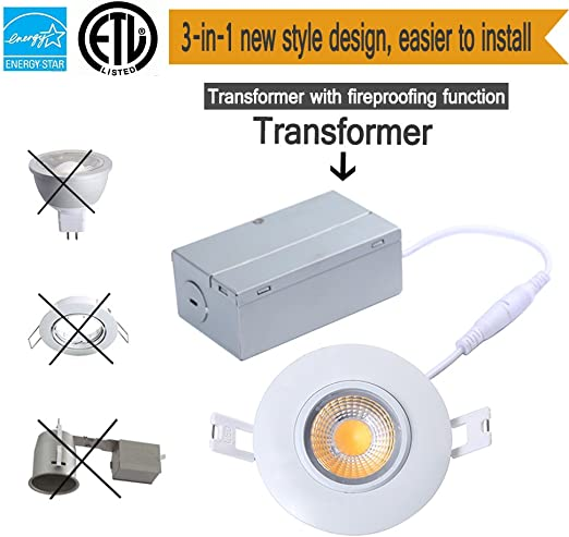 TSCDY 8W Directional Adjustable Downlight Led IC Rated 3-Inch 2700K Dimmable Recessed Lighting with ETL-Listed and Energy Star Qualified Pack of 1