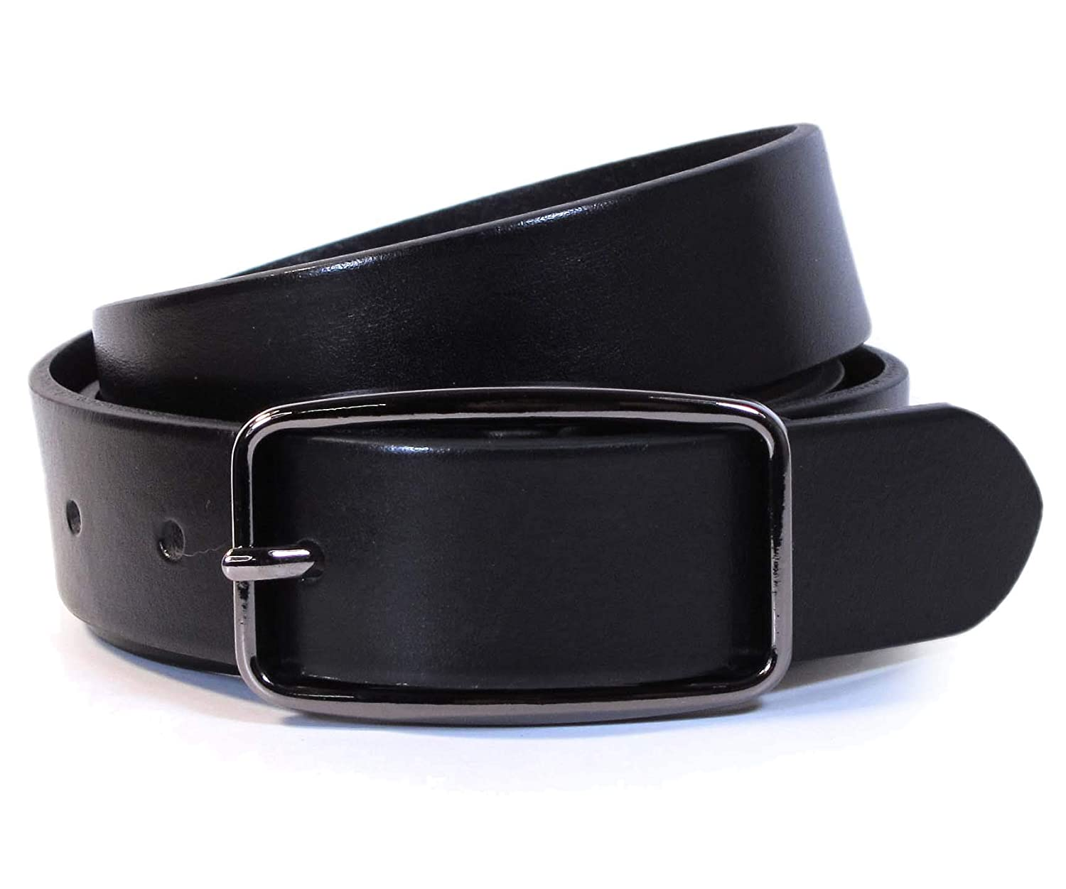 Mens Real Genuine Leather Black Belt 1.1 Wide S-L Thick Long Casual Jeans CM9