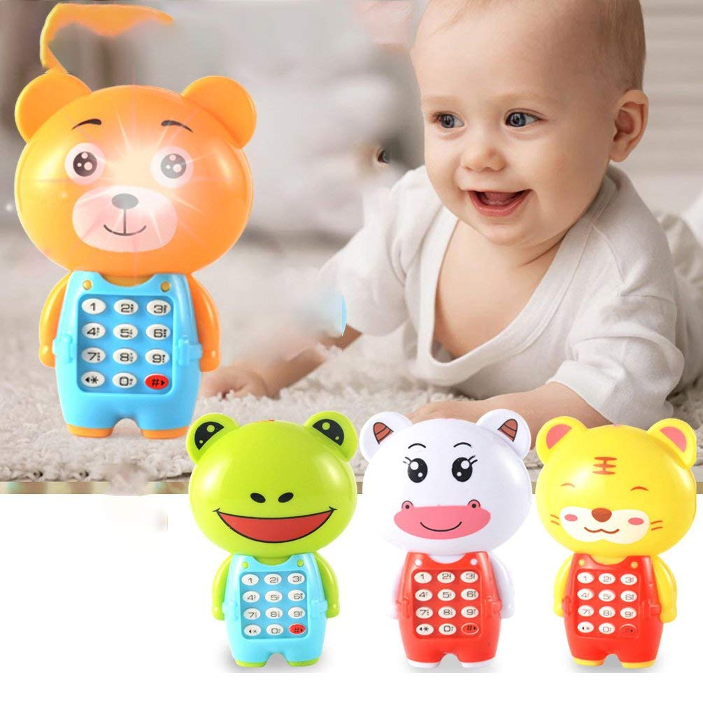 Creative Cartoon Music Mobile Phone Luminous Children s Educational Baby Small Gift Juguetes para ni/ños Amarillo
