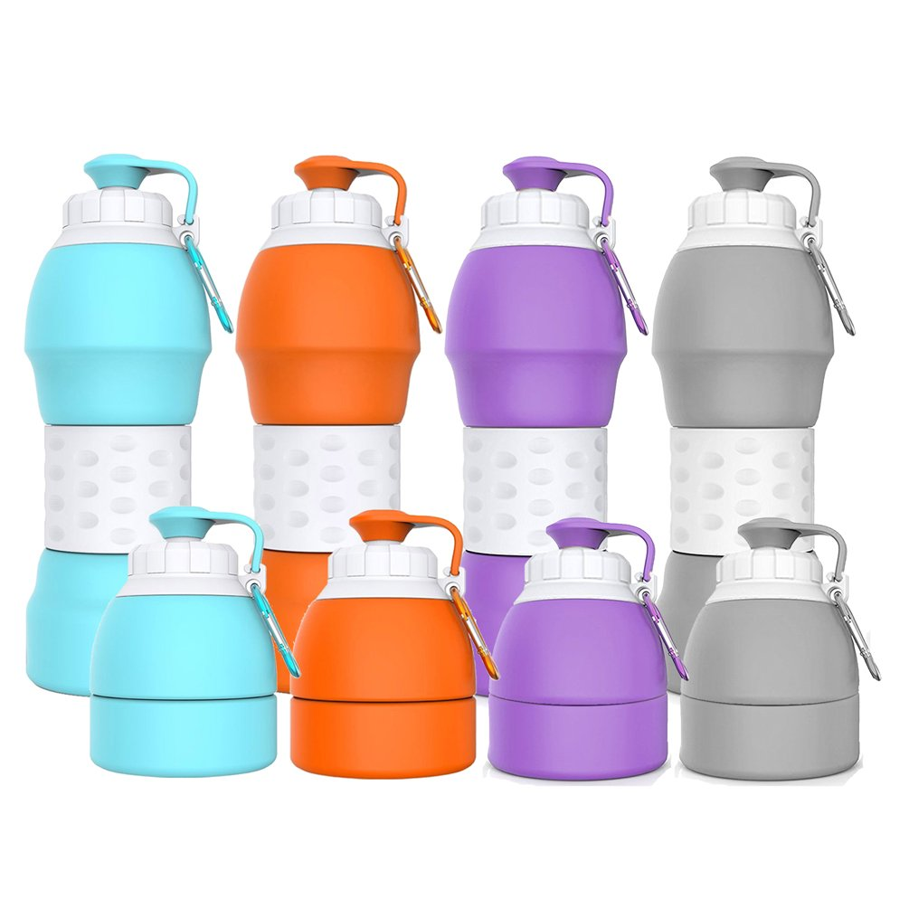 Collapsible Water Bottle Best Outdoor Sports Travel Accessories  19 6oz(580ML) Food Grade Silicone Material  [Explosion-Proof] [BPA  Free][FDA Approval]