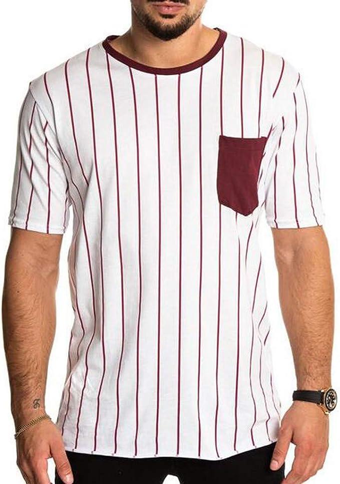 Camiseta para Hombre, Verano Manga Corta Impresión a Rayas Moda ...