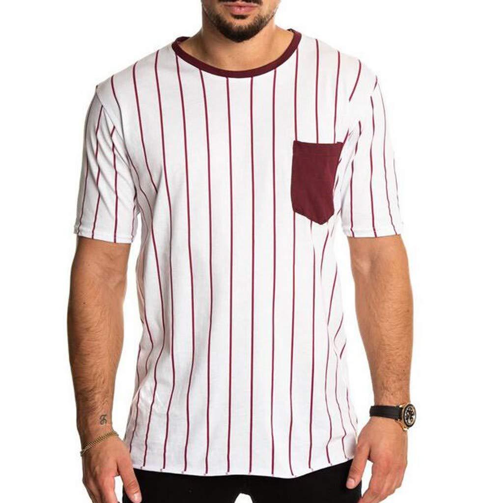 Mr.Macy Mens Summer Simple Pocket Striped Short Sleeve Fashion Blouse Top