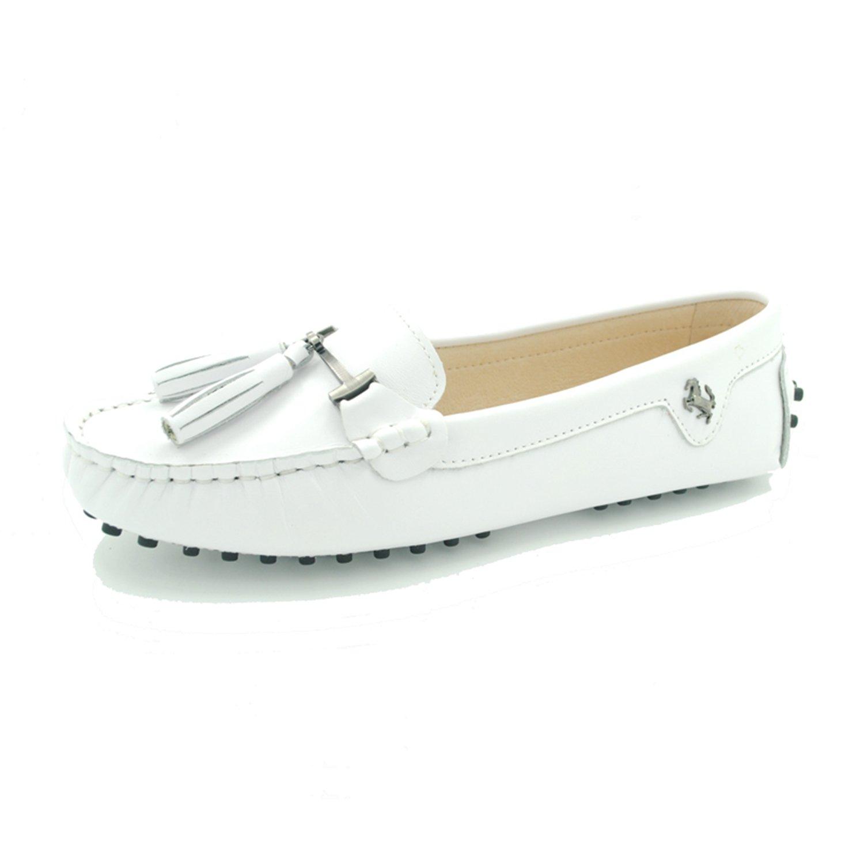 Minitoo ,  Damen Durchgängies Plateau Sandalen mit Keilabsatz  40 EU Leather-White