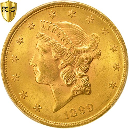 Head Double Eagle Gold Coin - 1899 No Mink Mark Liberty Head $20, Double Eagle PCGS MS64