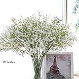 "Senjie 9pcs Artificial Flowers 21"" Gypsophila Baby Breath Bouquets Silica Gel for Wedding Home DIY Decor White"