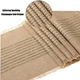 LKhome 12x120 Inchs Burlap Jute Fringe Table Runner with Glittering Sparkling Champagne Gold Striped for Rustic Wedding Party Farmhouse Decoration Table Decor Decorations