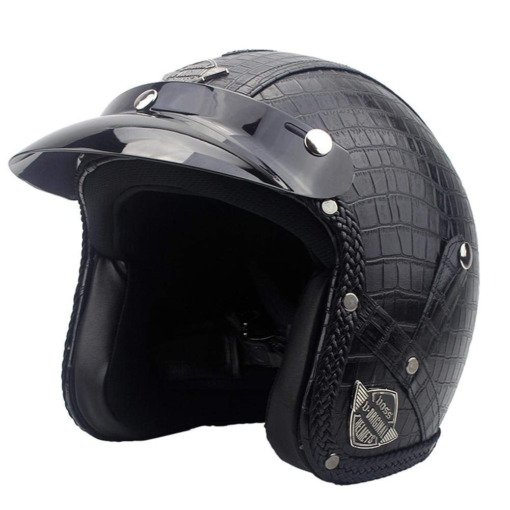 Ausomely Moto-Helme Roller-Helm Vintage Helm Mofa Scooter-Helm Retro Chopper Moto Helm-Rad-Helm Biker Helm-Piloten Jet-Helm 57-61 cm