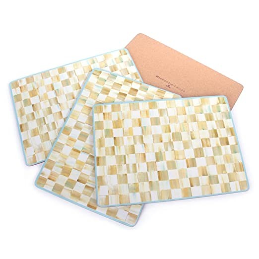 Mac Kenzie Childs Parchment Check Cork Back Placemats   Set Of 4 by Mac Kenzie Childs