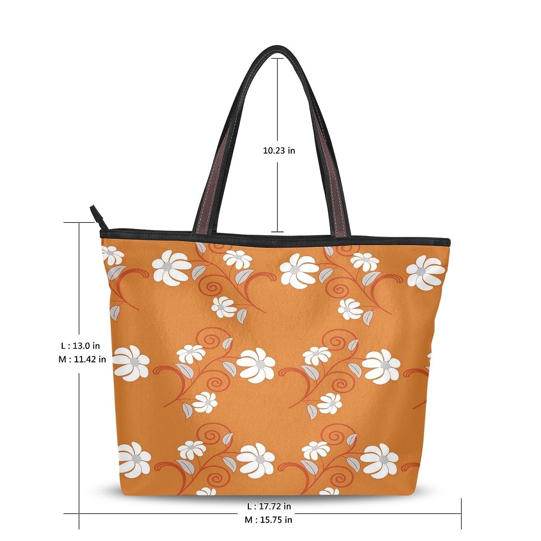 WHBAG Lightweight Handbag For Women,Hand Painted Orange Flower,Shoulder Tote Bag