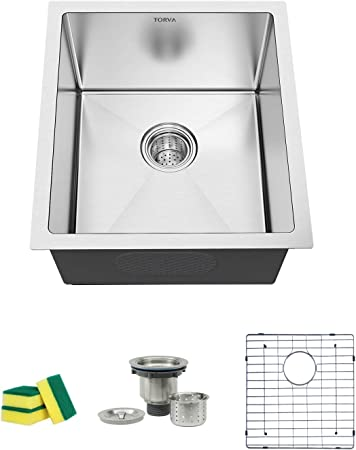 TORVA 15 x 17 Inch Undermount Kitchen Sink, 16 Gauge Stainless Steel Wet  Bar or Prep Sinks Single Bowl, Fits 18\