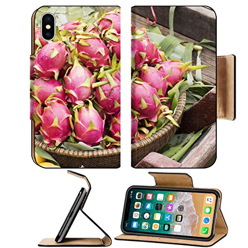 MSD Premium Apple iPhone X Flip Pu Leather Wallet Case IMAGE ID: 30407705 Pink pitahaya dragon fruit in basket on Floating Market