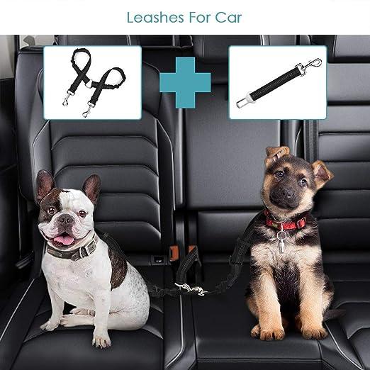 SlowTon Dog Dog Doble cinturón de Seguridad con Correa, sin enredo Pet Correa elástica Ajustable Tira Reflectante cinturón de Seguridad(Negro, Correa de Perro Doble y Correa para Perros): Amazon.es: Productos para mascotas