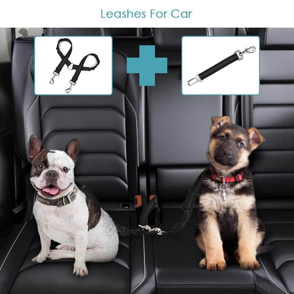 SlowTon Double Dog Sicherheitsgurt Doppelhaustier-Sicherheitsgurt Verstellbarer mit elastischem Bungee und reflektierendem Streifen Keine Verwicklung Sicherheitsgurt-Splitter im Fahrzeug