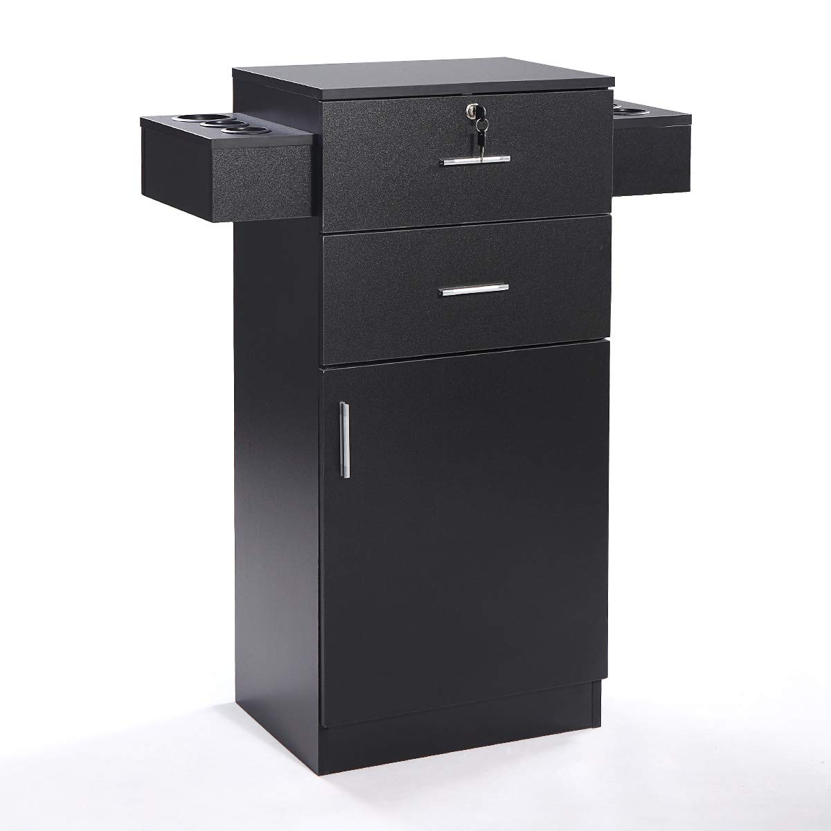 Sandinrayli Black Salon Storage Station Locking Drawer Storage Cabinet Equipment 3-layer w/Hair Dryer Holder by Sandinrayli