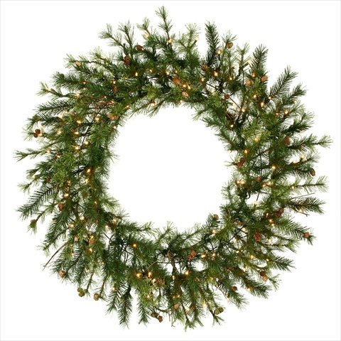 NorthLight 60 in. Pre-Lit Mixed Country Pine Commercial Christmas Wreath44; Clear Dura Lights
