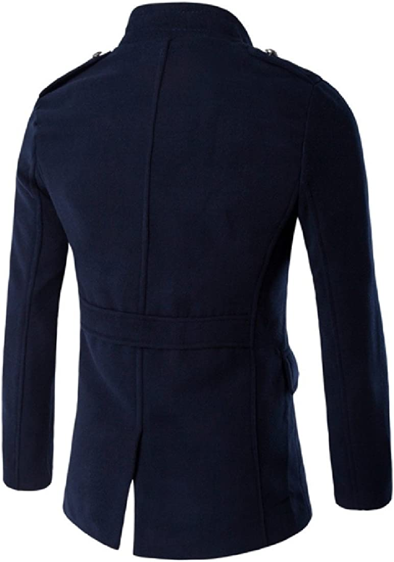 Sankt Mens Trench Coat Single Breasted Band Collar Fit Peacoat
