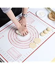GWHOLE 18x 24 inch Non Silp Silicone Pastry Baking Mats with Measurements and Conversion Charts for Fondant, Rolling Dough, Pie Crust, Pizza and Cookies