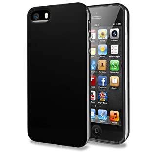 TENOC Case Compatible for Apple iPhone SE/iPhone 5S/ iPhone 5, Slim Fit Soft TPU Cover Glossy Finish Coating Full Protective Bumper Black
