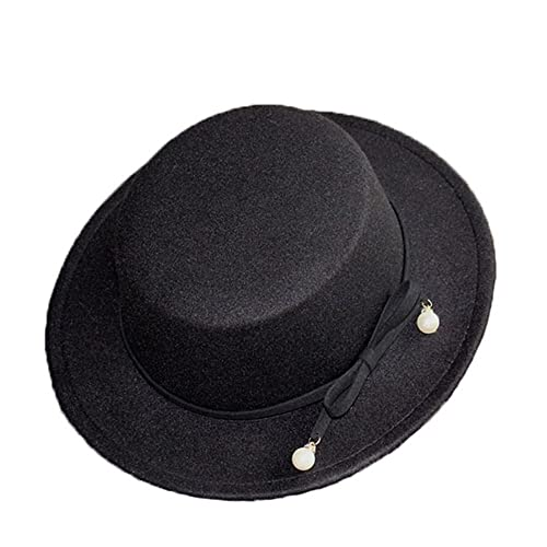 Donna Ragazze Moda Autunno Inverno Perla Fiocco Nodo Retrò Cappello Di Panama Cappello A Cilindro