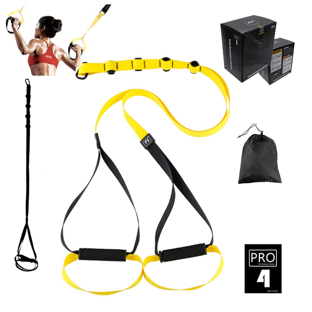 P3 Pro 4 Yellow O RLY Bodyweight Fitness Resistance Straps Trainer Complete Training System Kit for Travel and Working Out Indoors /& Outdoors