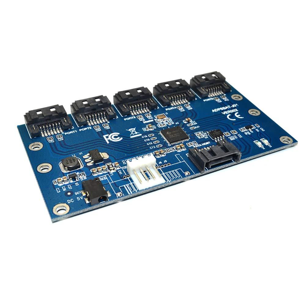 Shentesel SATA 1 to 5 Port Converter Motherboard Multiplier Riser Adapter Card Hub Cable
