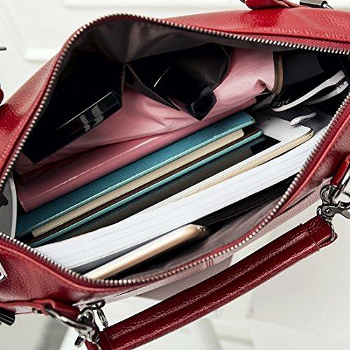 YYW Leather Handbags - Bolso mochila  para mujer Red