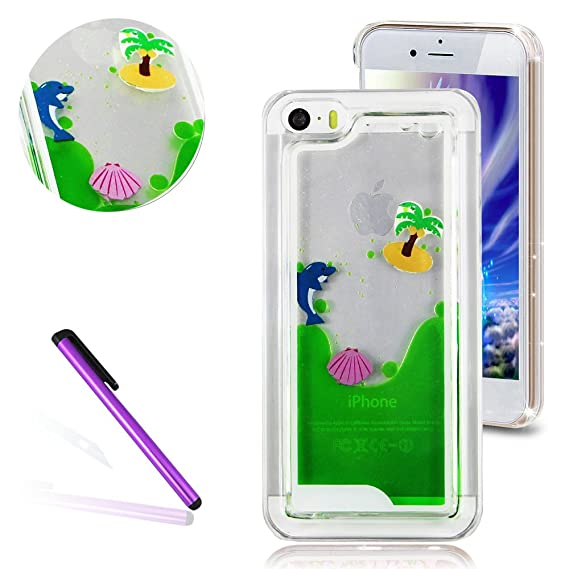 IPhone 5C Case3D Liquid Brilliant Luxury Bling Glitter Floating Palm Shell And Dolphin