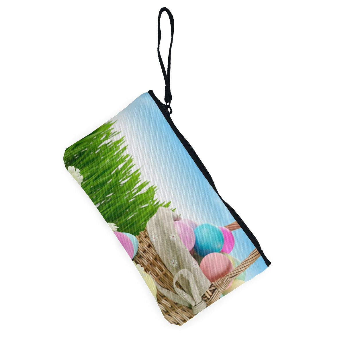 Maple Memories Easter Eggs Basket Portable Canvas Coin Purse Change Purse Pouch Mini Wallet Gifts For Women Girls