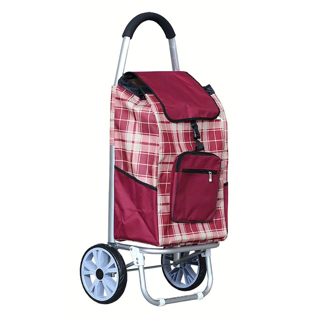 Zehaer Portable Trolley, ZGL Trolley Trolley Aluminum Alloy Old Man Shopping Cart Fold Shopping Cart Portable Pull Rod Car Hiking Luggage Cart Hand Car (Color : Red) (Color : Red) by Zehaer (Image #1)