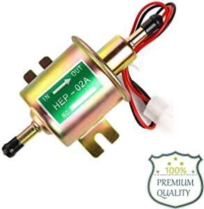 Electric Fuel Pump 12V Inline Universal Marine Low Pressure Electric Fuel Pump for Lawn Mover Transfer Pump T 2.5-4 PSI for Carburetor Engine HEP-02A