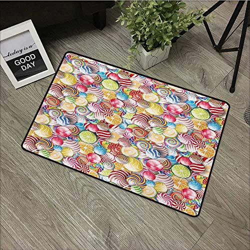 Floor mat W31 x L47 INCH Colorful,Spiral Sugar Candy Sweets Lolly Pops Dessert Fun Girls Kids Nursery Theme Print,Multicolor Non-Slip Door Mat Carpet