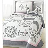 OSD 2pc Girls Pink Grey White Scottie Puppy Dog Theme Quilt Twin Set, Pale Baby Light Gray, Cute Girly Floral Patchwork Puppie Dogs Bedding, Fun Flower Patch Work Animal Pup Themed Pattern