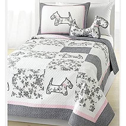 Amazon Osd 2pc Girls Pink Grey White Scottie Puppy Dog Theme