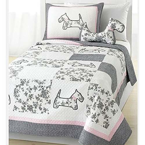 OSD 2pc Girls Pink Grey White Scottie Puppy Dog Theme Quilt Twin Set, Pale Baby Light Gray, Cute Girly Floral Patchwork Puppie Dogs Bedding, Fun Flower Patch Work Animal Pup Themed Pattern by OSD