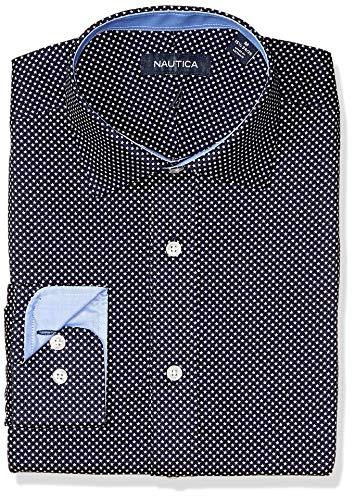Neck Star Print - Nautica Men's Classic Fit Spread Collar Dress Shirt, Navy Star Print, 16.5 32/33