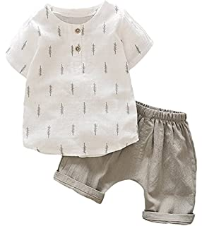 acbc3f992bc Amazon.com  POBIDOBY Boy s T-Shirt and Shorts Set Cotton Linen ...