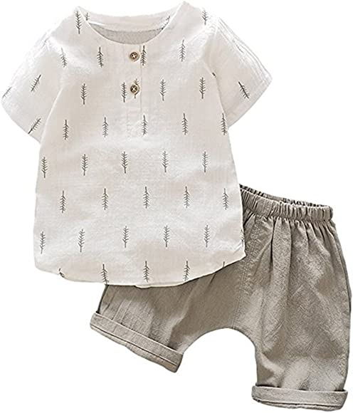 EGELEXY Kids Baby Boys Cotton Long Sleeve Tops+Pants Sets Outfits