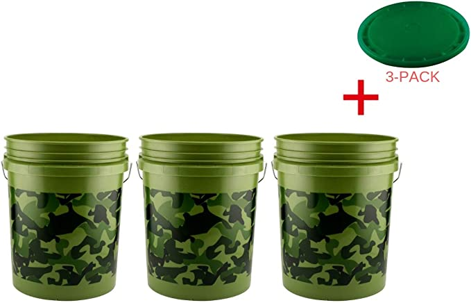 Camouflage Pail Multipurpose Plastic Bucket Bin Durable Outdoor 5 Gal New