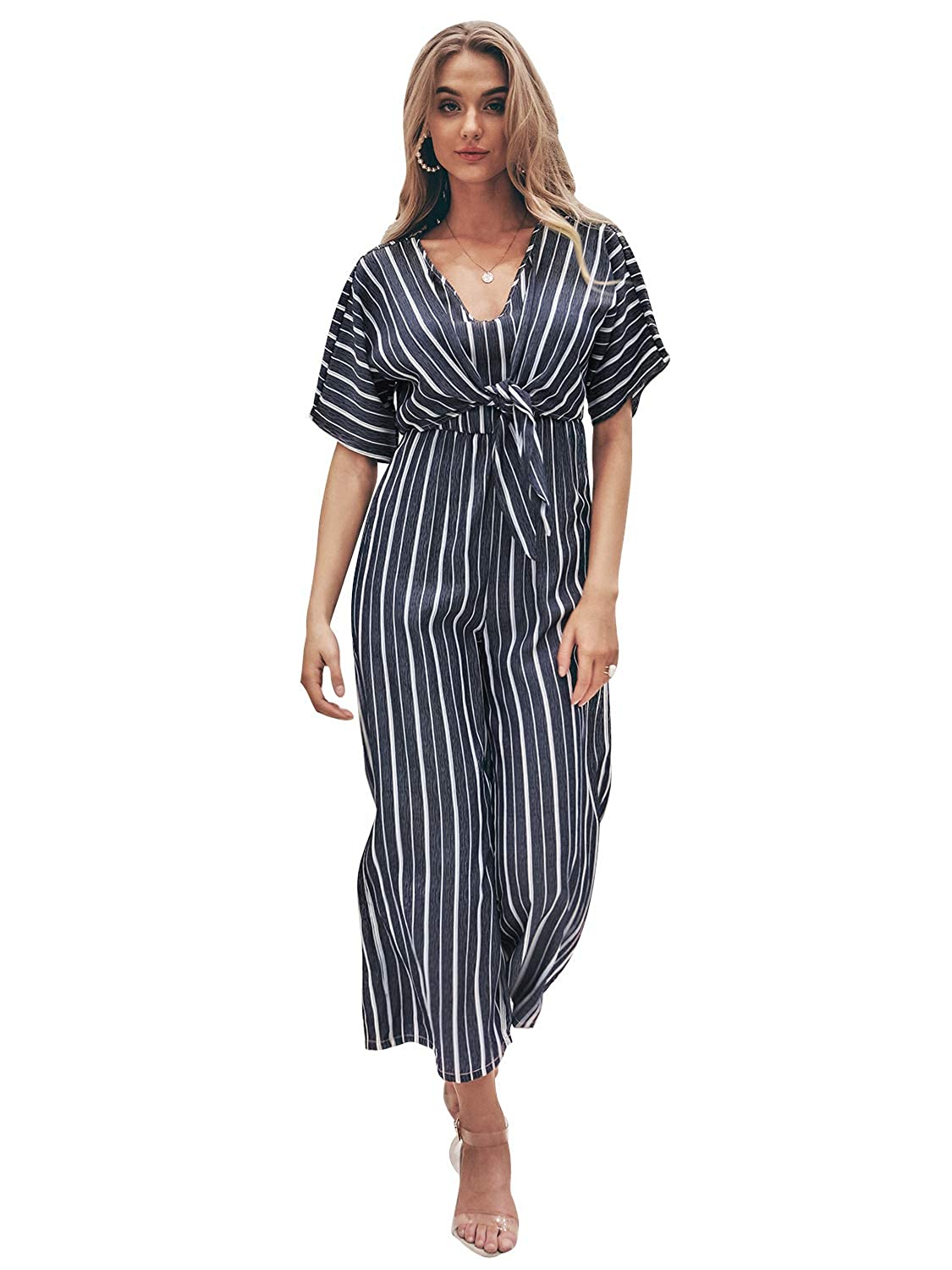 ab8a74c4 Simplee Women's Elegant Striped Split High Waisted Belted Flowy Wide Leg  Pants at Amazon Women's Clothing store: