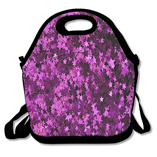 IJIUFF Purple Leaf Sequins Portable Multi-Function Lunch Bag Tote Bag Picnic, (Leaf Lunch)