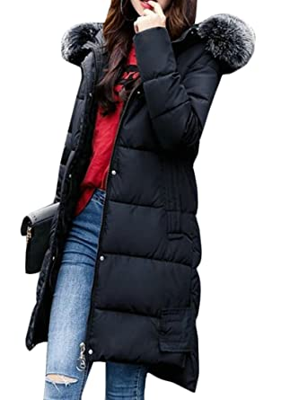 Fensajomon Womens Fashion Print Faux Fur Hooded Long Quilted Padded